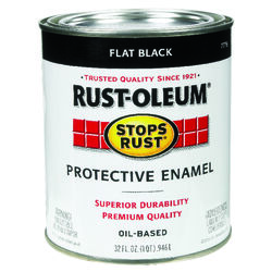 Rust-Oleum Stops Rust Indoor and Outdoor Flat Black Oil-Based Protective Paint 1 qt.