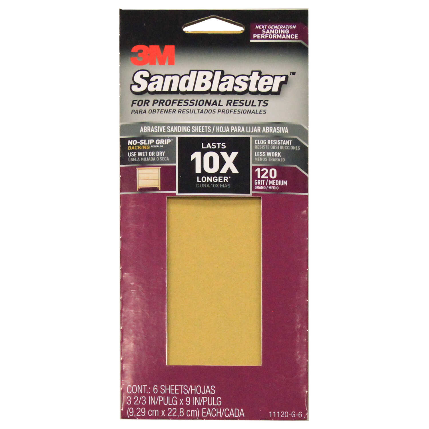 3M  SandBlaster  9 in. L x 3-2/3 in. W 120 Grit Medium  Ceramic  Sandpaper  6 pk