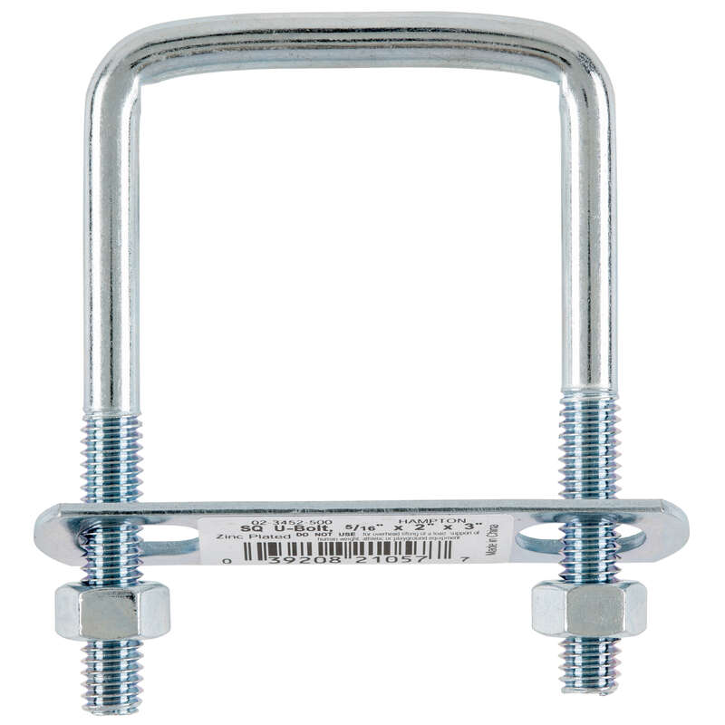 Hampton  5/16 in.  x 2 in. W x 3 in. L Coarse  Zinc-Plated  Steel  Square Bend U Bolt