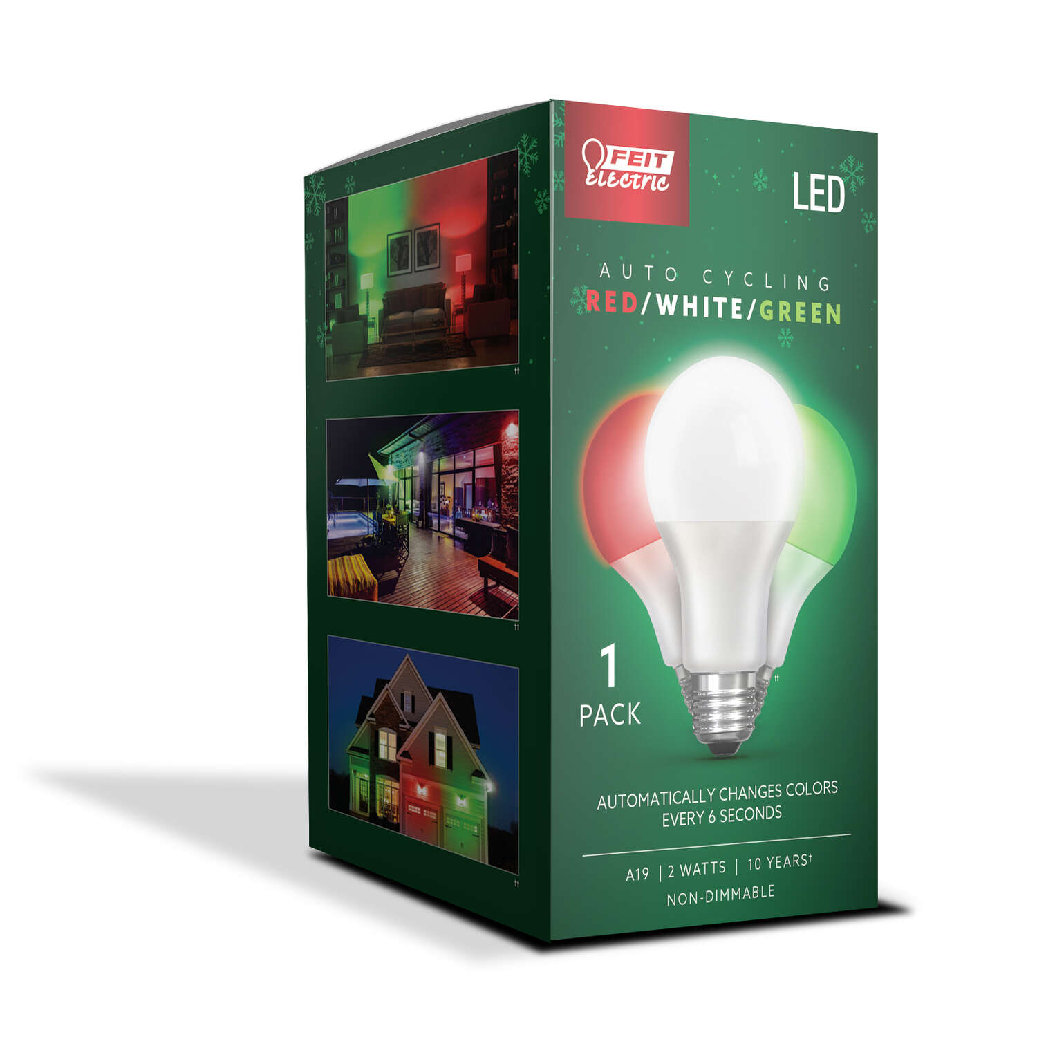 Feit Electric  A19  E26 (Medium)  Auto Cycling LED Bulb  Green/Red/White  2 Watt Equivalence 1 pk