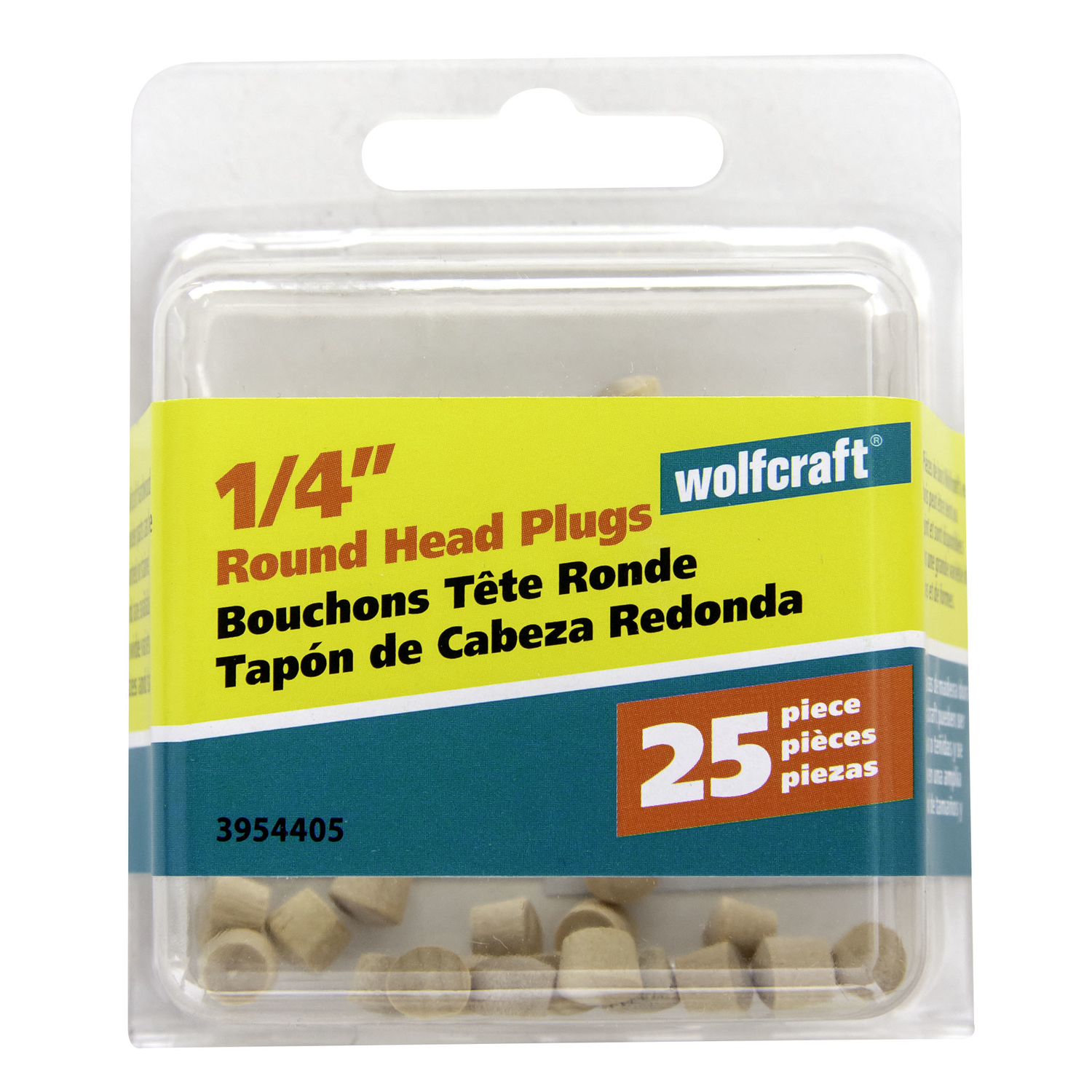 Wolfcraft  Round  Birch  Round Head Plug  1/4 in. Dia. x 0.225 in. L 25 pk Natural
