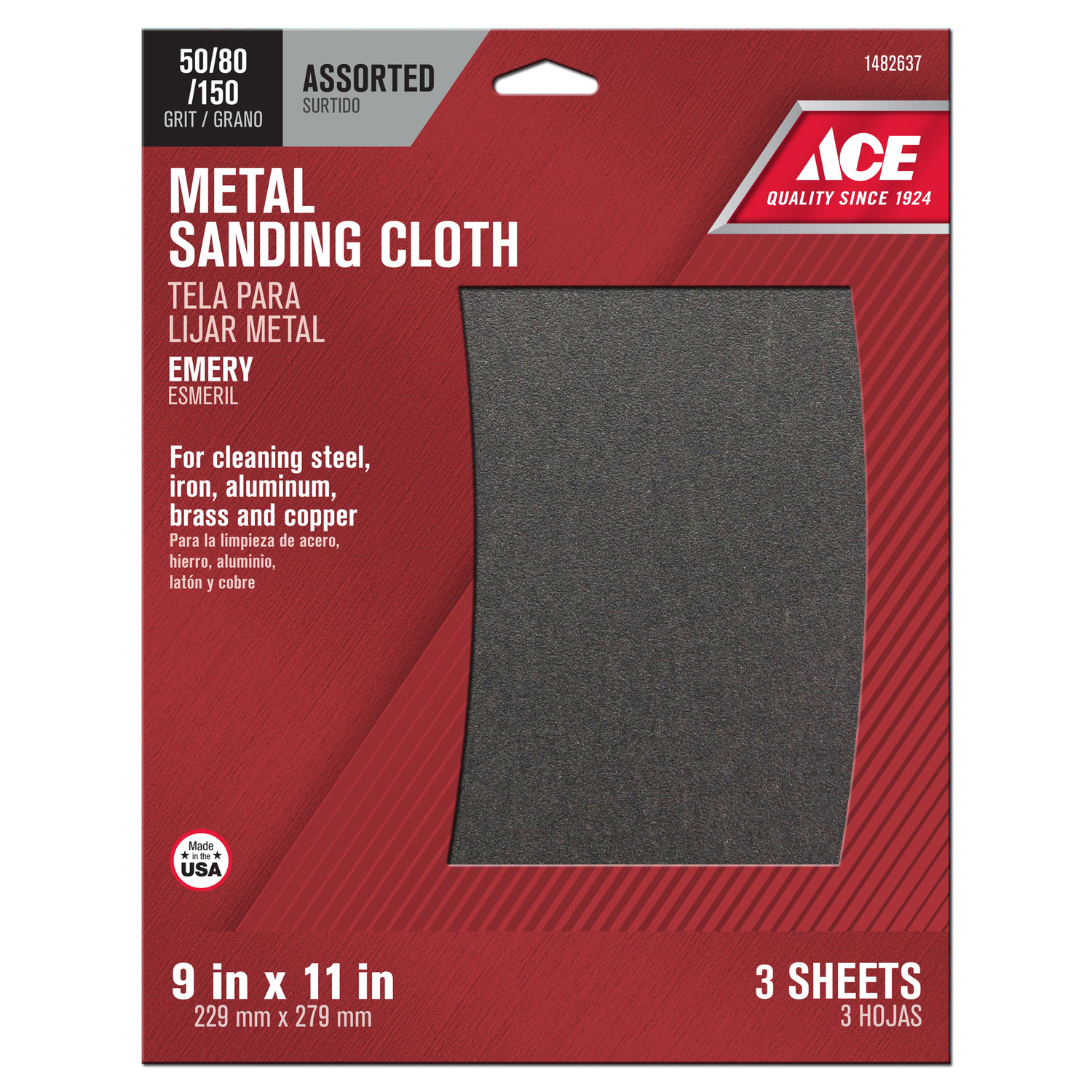 Ace  11 in. L x 9 in. W 50/80/150 Grit Assorted  Emery  Sanding Cloth  3 pk