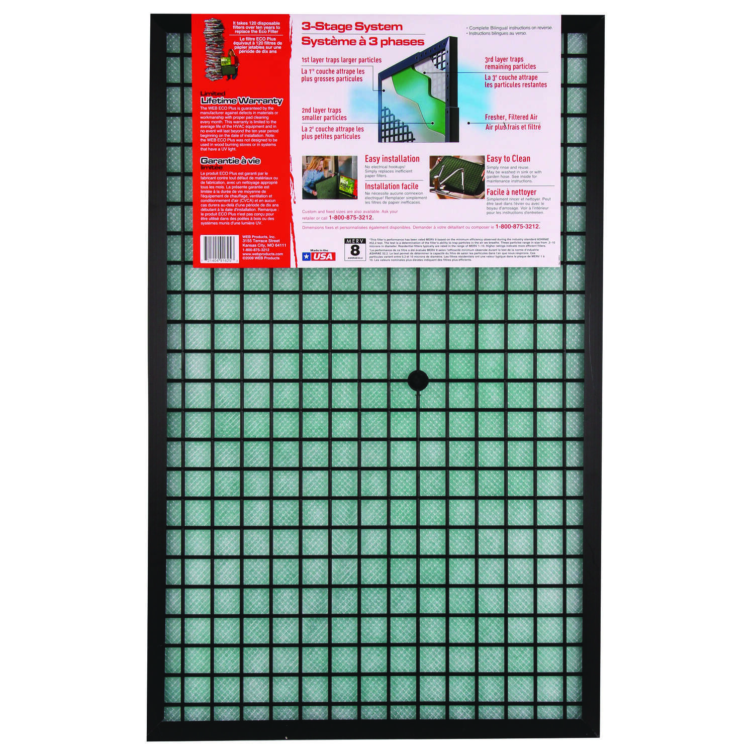 Web  Plus  16 in. W x 20 in. H x 1 in. D Polyester  Air Filter