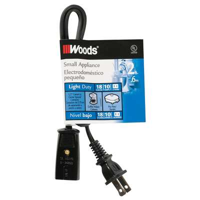 Woods  18/2 HPN  125 volt 2 ft. L Small Appliance Cord