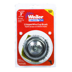 Weiler  Vortec Pro  3 in. Dia. x 1/4 in.  Crimped  Steel  Crimped Wire Cup Brush  13000 rpm 1 pc.