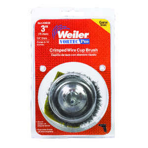 Weiler  1/4 in. in.  x 0.014 in. Dia. Coarse  Steel  Crimped Wire Cup Brush  1 pc.
