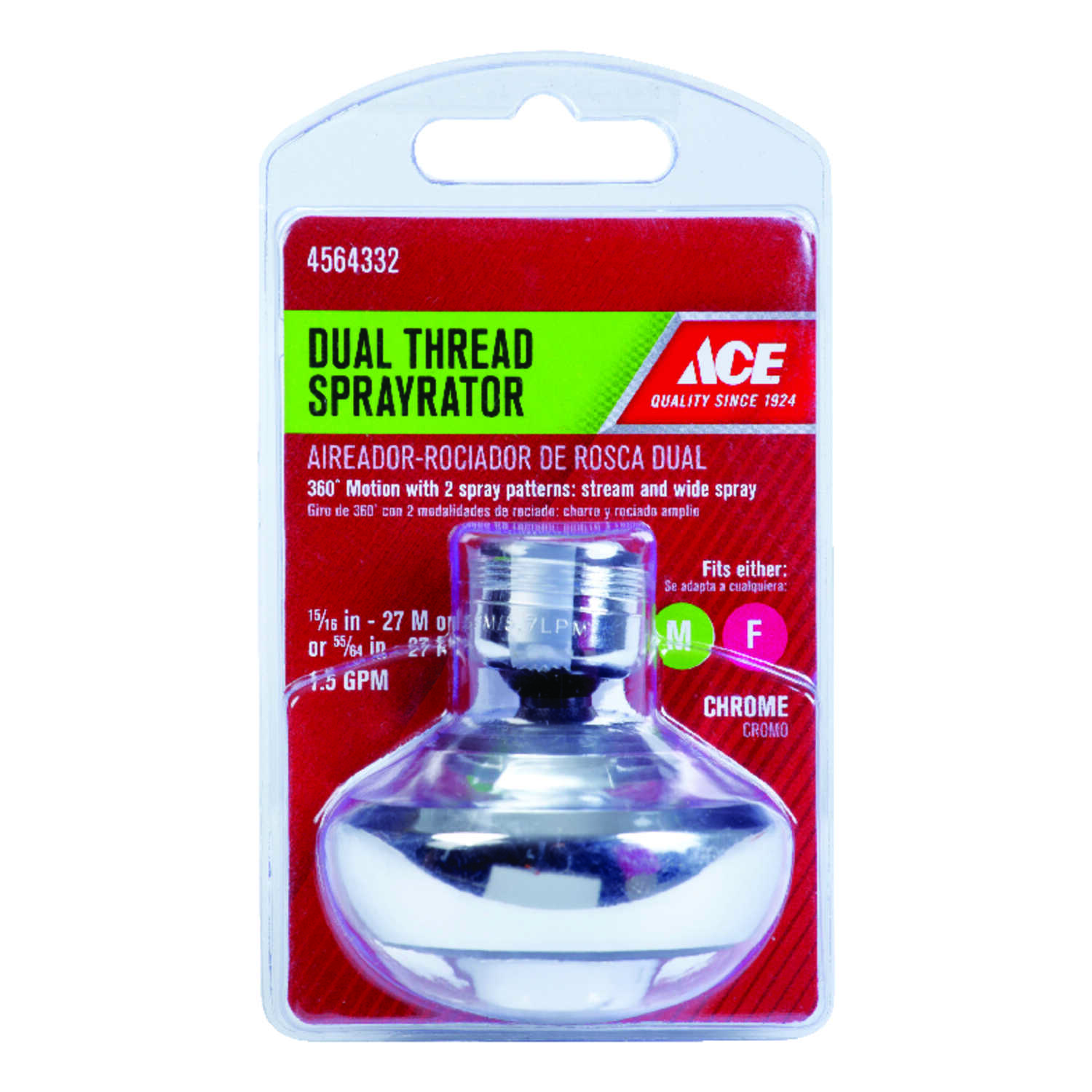 ACE  Swivel Sprayrator  15/16 in.  x 55/64 in.  Chrome