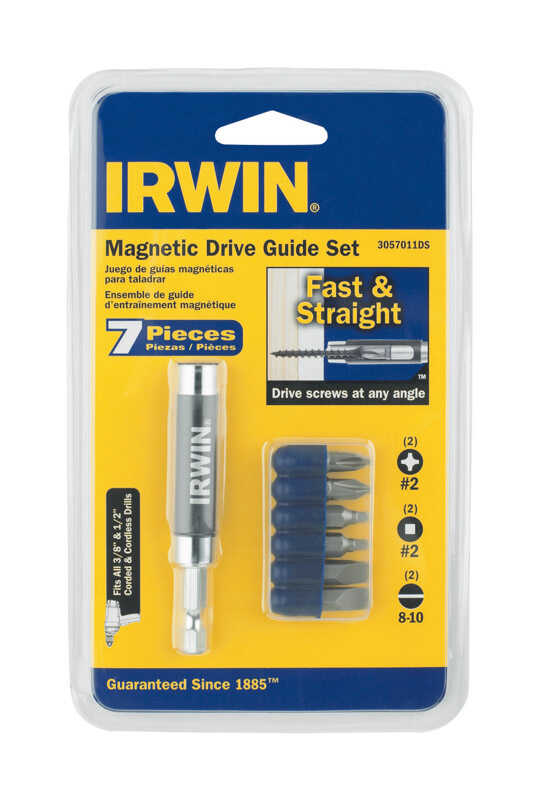 Irwin  Phillips/Slotted/Square  Drive Guide Bit Set  S2 Tool Steel  7 pc.