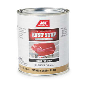 Ace  Rust Stop  Interior/Exterior  Gloss  Indoor and Outdoor  Rust Prevention Paint  1 qt. Sand