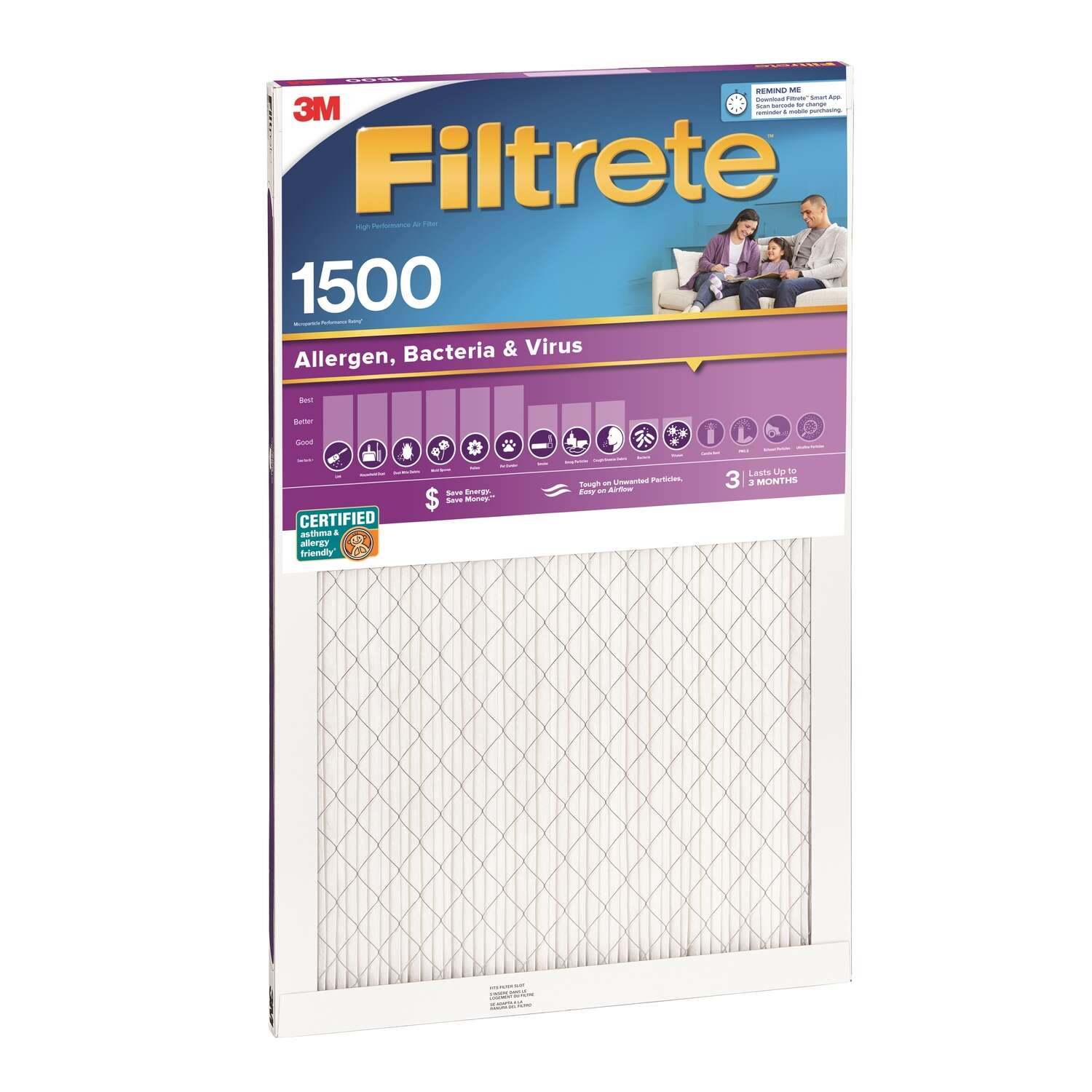 3M  Filtrete  20 in. W x 1 in. D x 24 in. H Air Filter