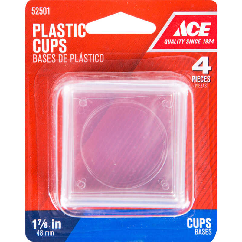 Ace  Plastic  Caster Cup  Clear  1-7/8 in. W x 1-7/8 in. L Square  4 pk