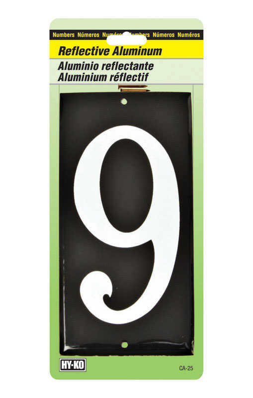 Hy-Ko  3-1/2 in. Reflective White  Aluminum  Number  9  Nail-On  1 pc.