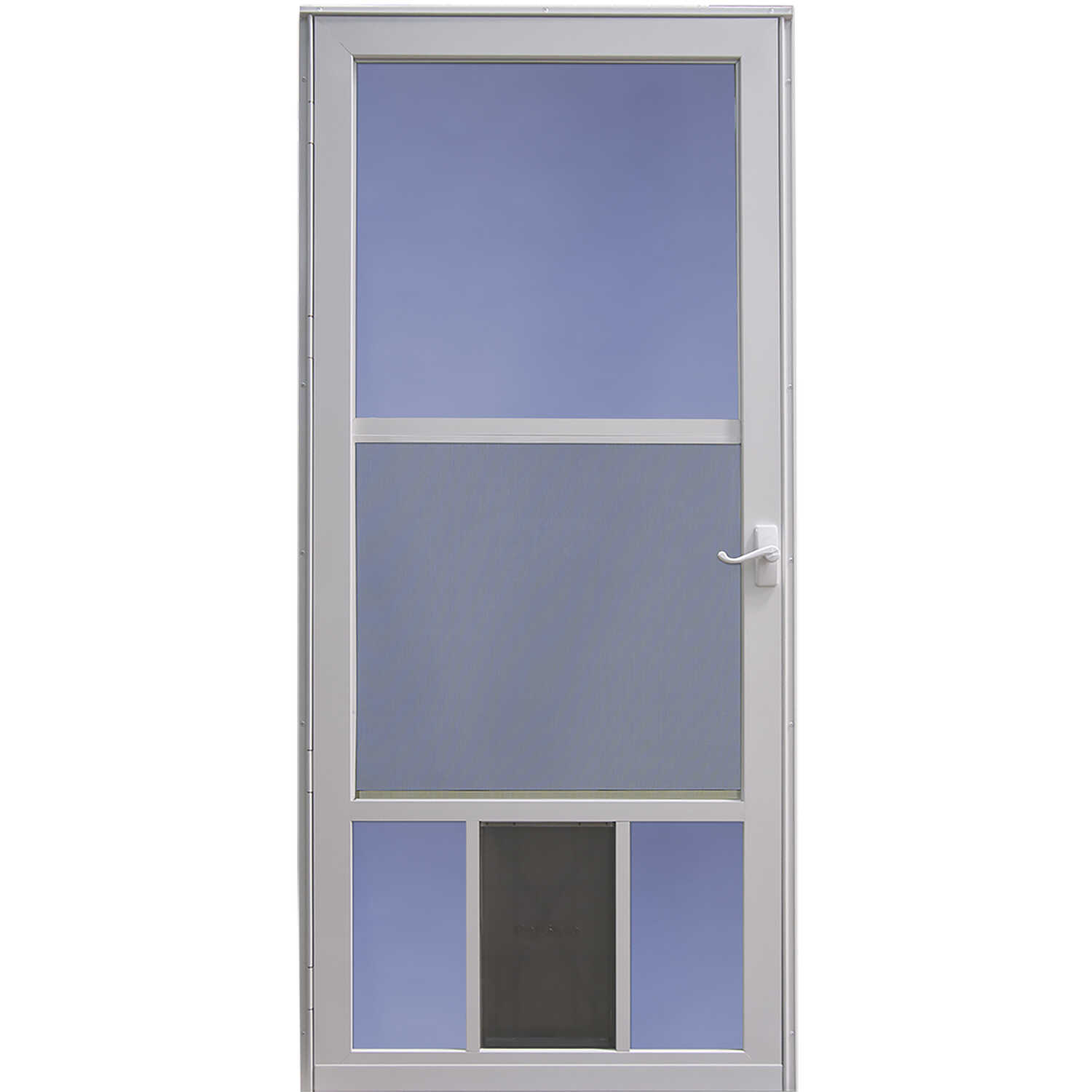 LARSON  81 in. H x 36 in. W Aluminum  White  Full-View  Reversible  Pet Storm Door