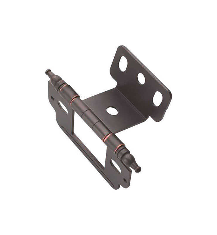 Amerock  1 in. W x 2-3/4 in. L Oil Rubbed Bronze  Steel  Cabinet Hinge  1 pk