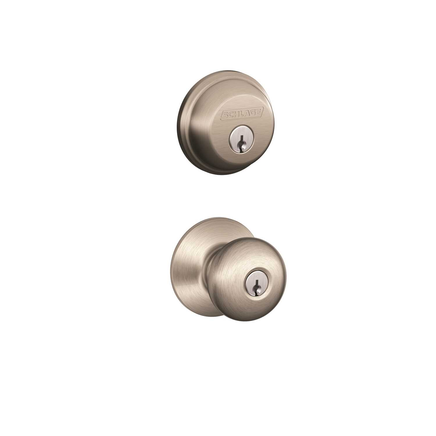 Schlage  Plymouth  Satin Nickel  Deadbolt and Entry Door Knob  ANSI Grade 2  1-3/4 in.