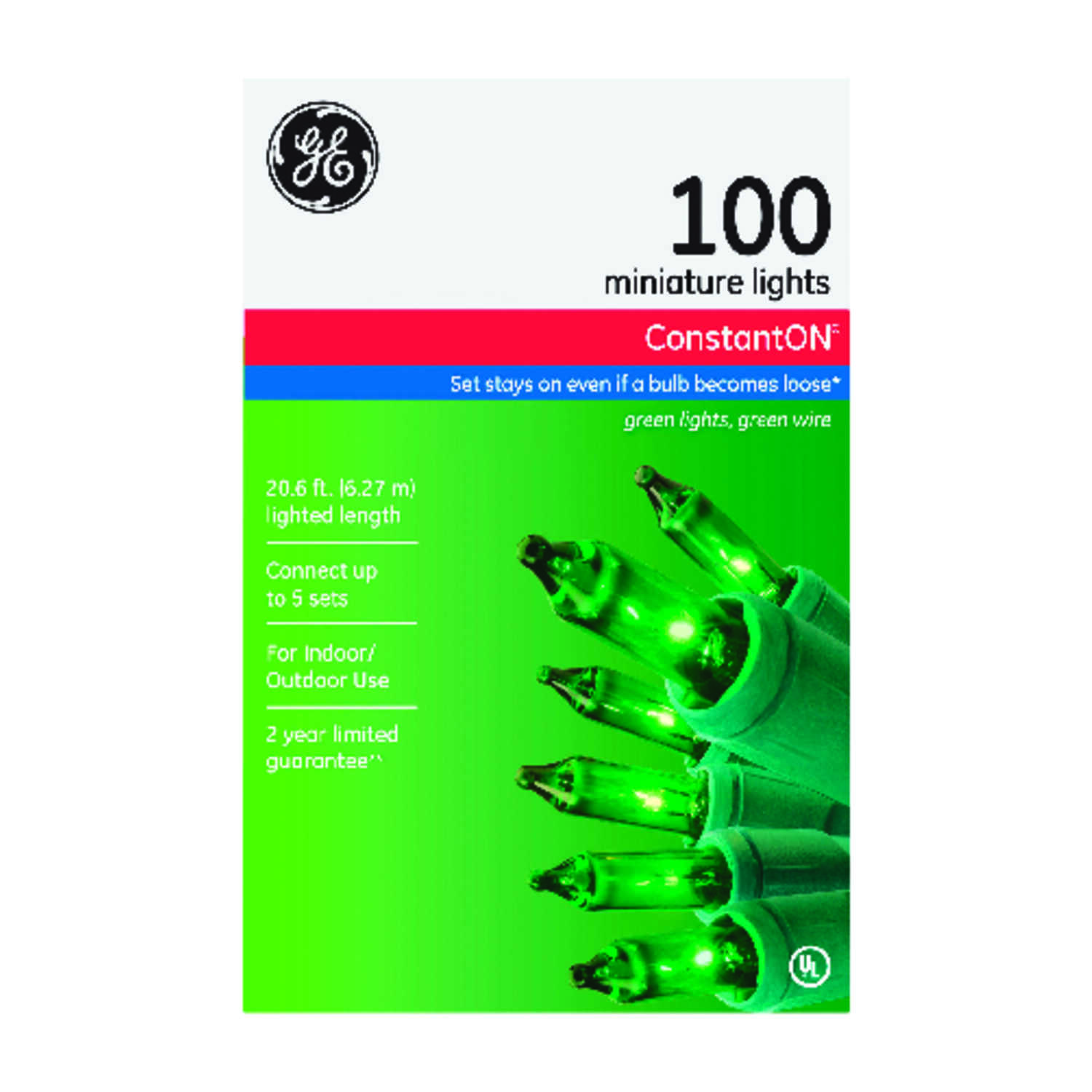GE  Constant On  Incandescent  Mini  Light Set  Green  20.6 ft. 100 lights