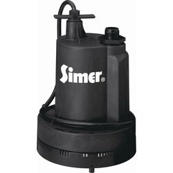 Simer 1/4 hp 1320 gph Thermoplastic Electronic Switch Bottom AC Utility Pump