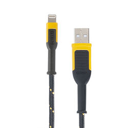 DeWalt  Lightning to USB  Charge and Sync Cable  10 ft. Black/Yellow
