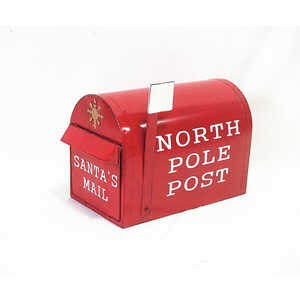 Sunset Vista  Metal  12.25 in. H Christmas North Pole Post Mailbox  Outdoor Garden Stake  Red
