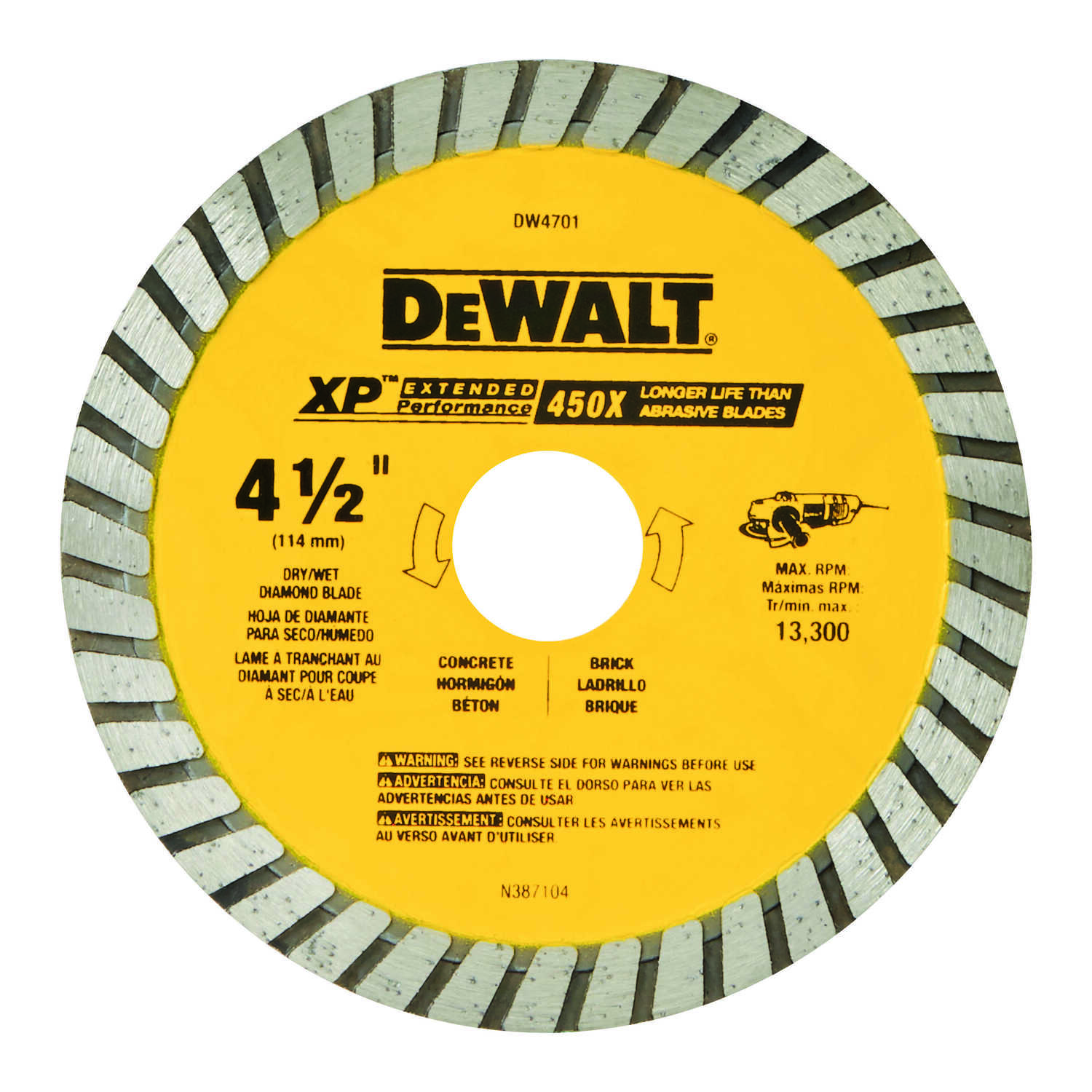 DeWalt  4-1/2 in. Dia. x 7/8 in.  Diamond  XP Extended Performance  Masonry Blade  1 pk