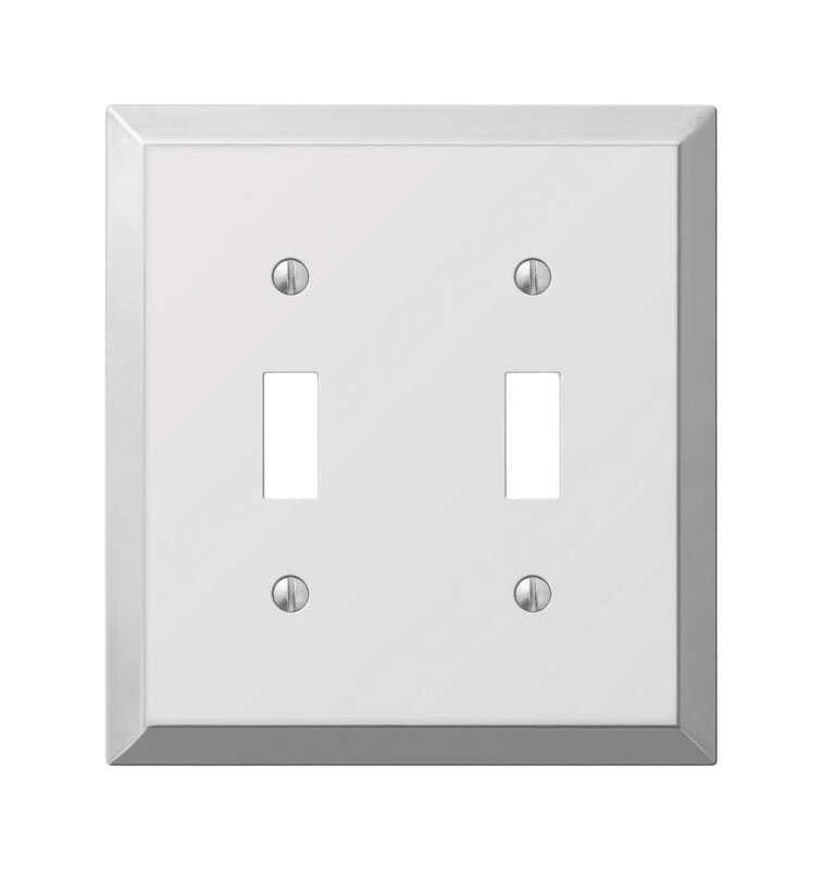 Amerelle  Century  Polished Chrome  2 gang Stamped Steel  Toggle  Wall Plate  1 pk