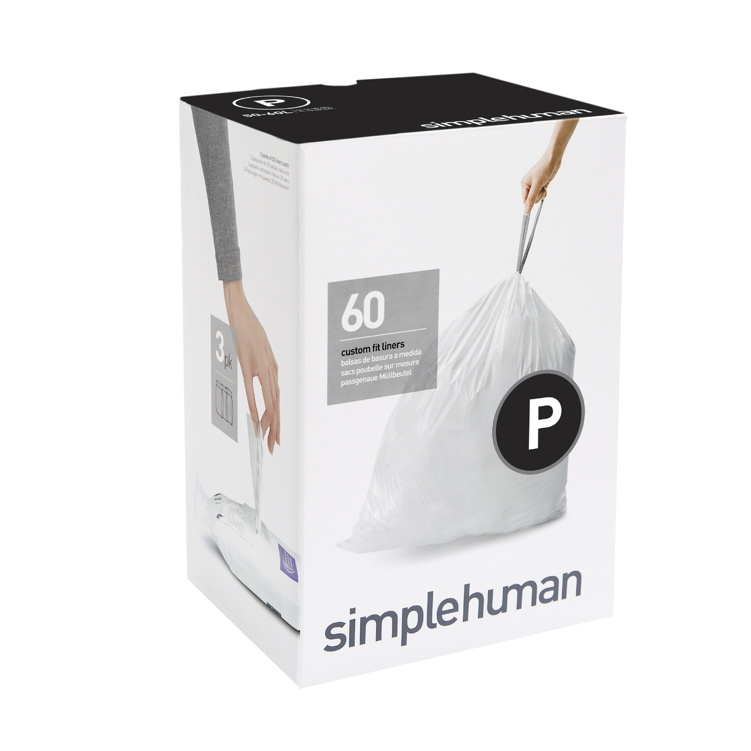 simplehuman  Custom Fit Code P  13-16 gal. Trash Bag Liner  Drawstring  60 pk