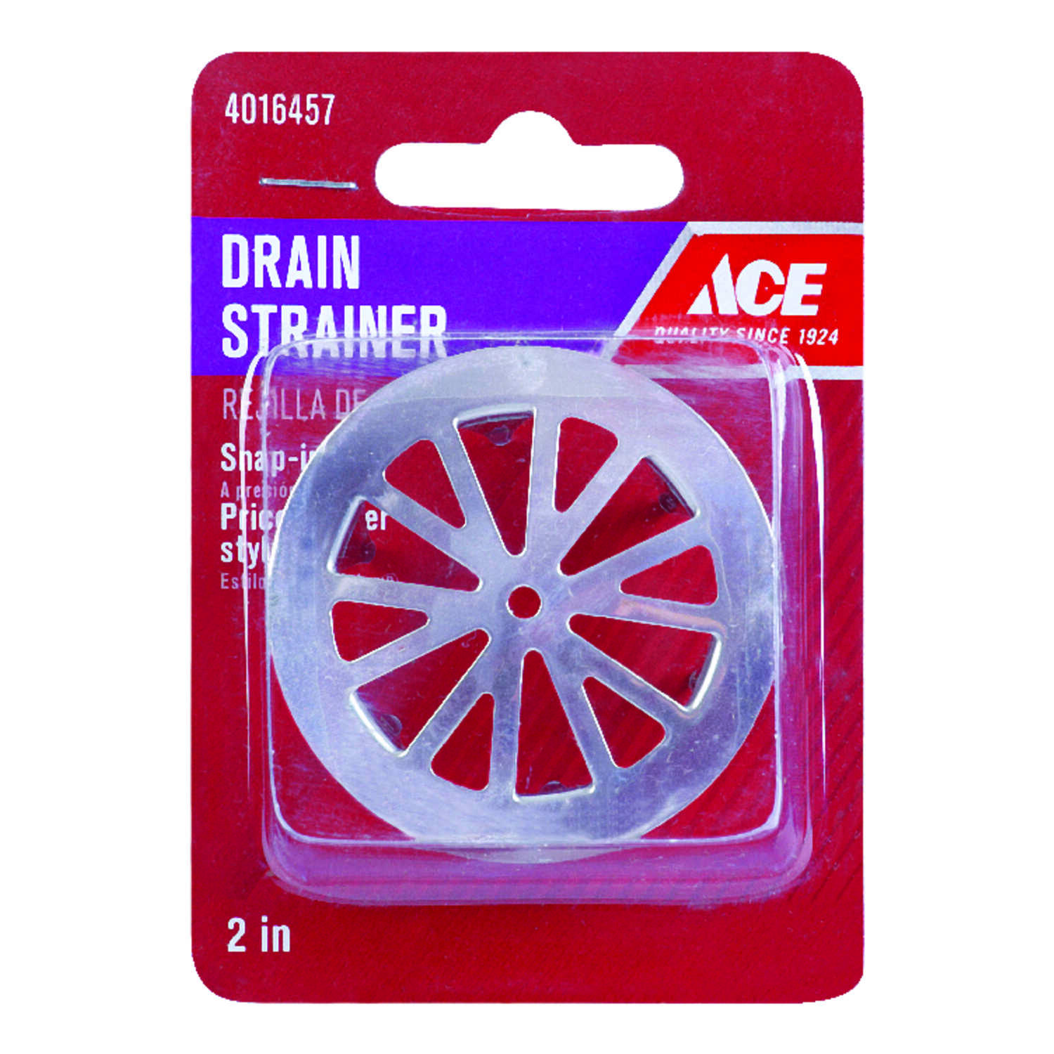 Ace  2 in. Chrome  Metal  Snap-In Strainer