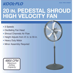 KOOL-FLO  HV Shroud  55.11 in. H x 20 in. Dia. 3 speed Electric  Oscillating Pedestal Fan