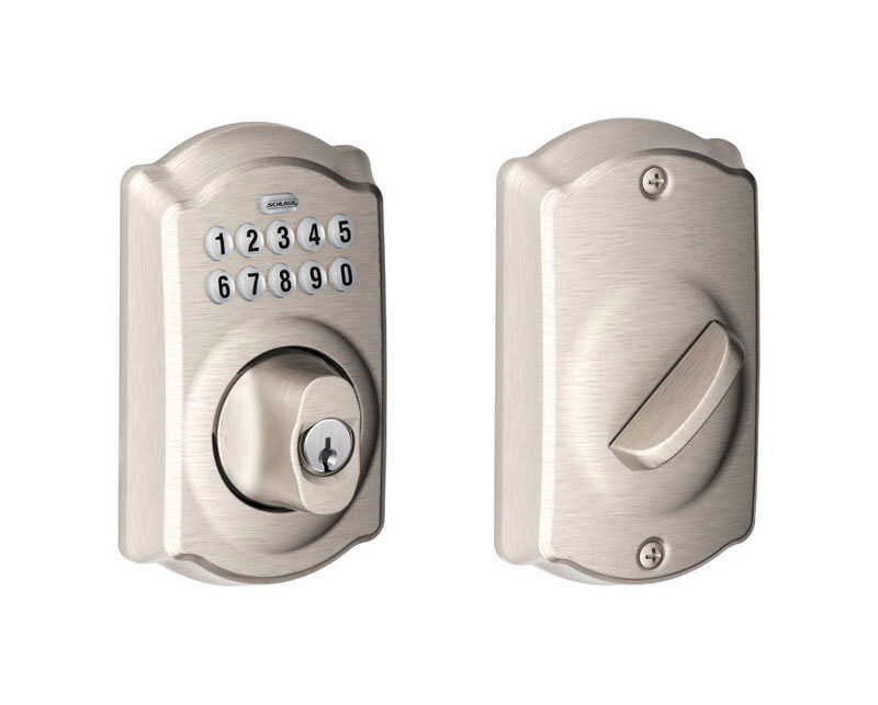 Schlage  Satin Nickel  Steel  Electronic Deadbolt