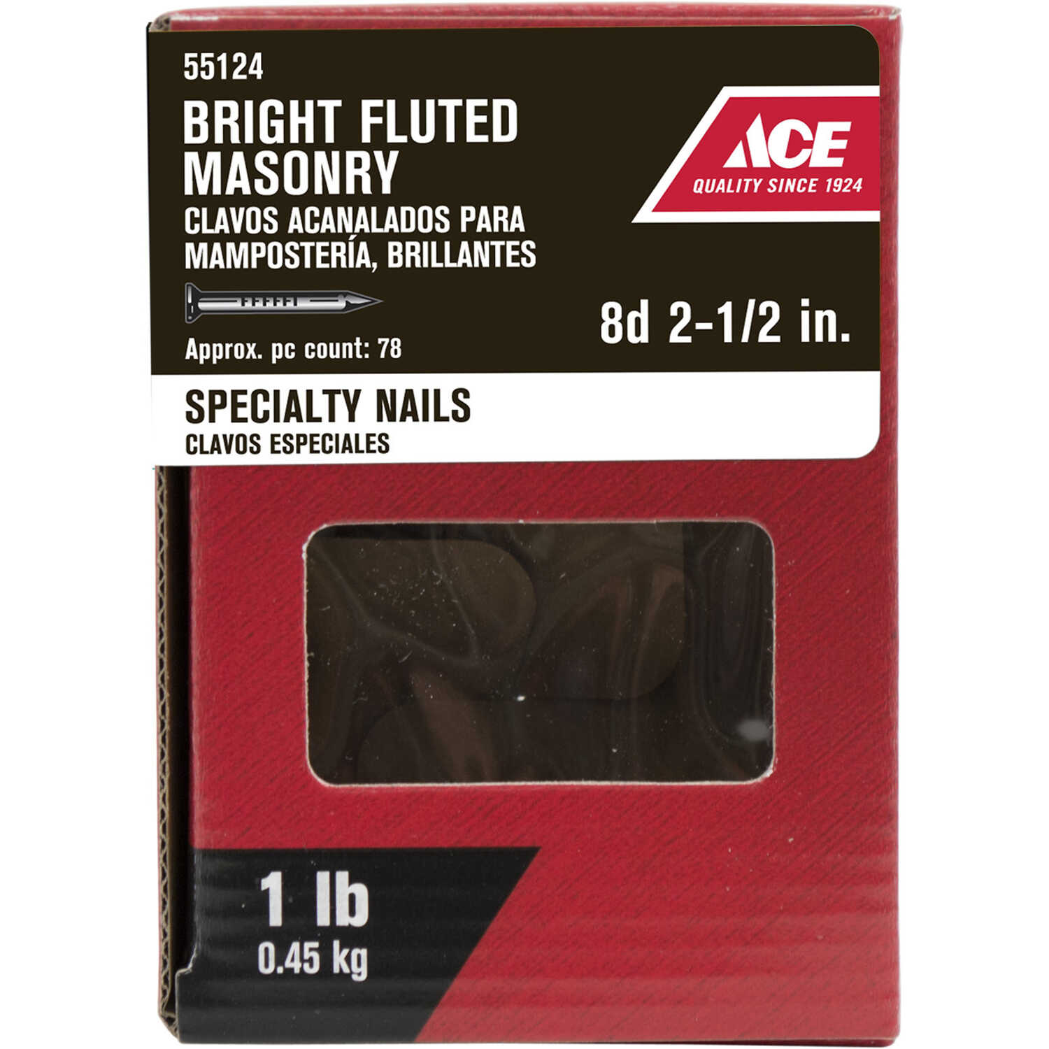 Ace  8D  2-1/2 in. L Masonry  Nail  Fluted Shank  1 lb.
