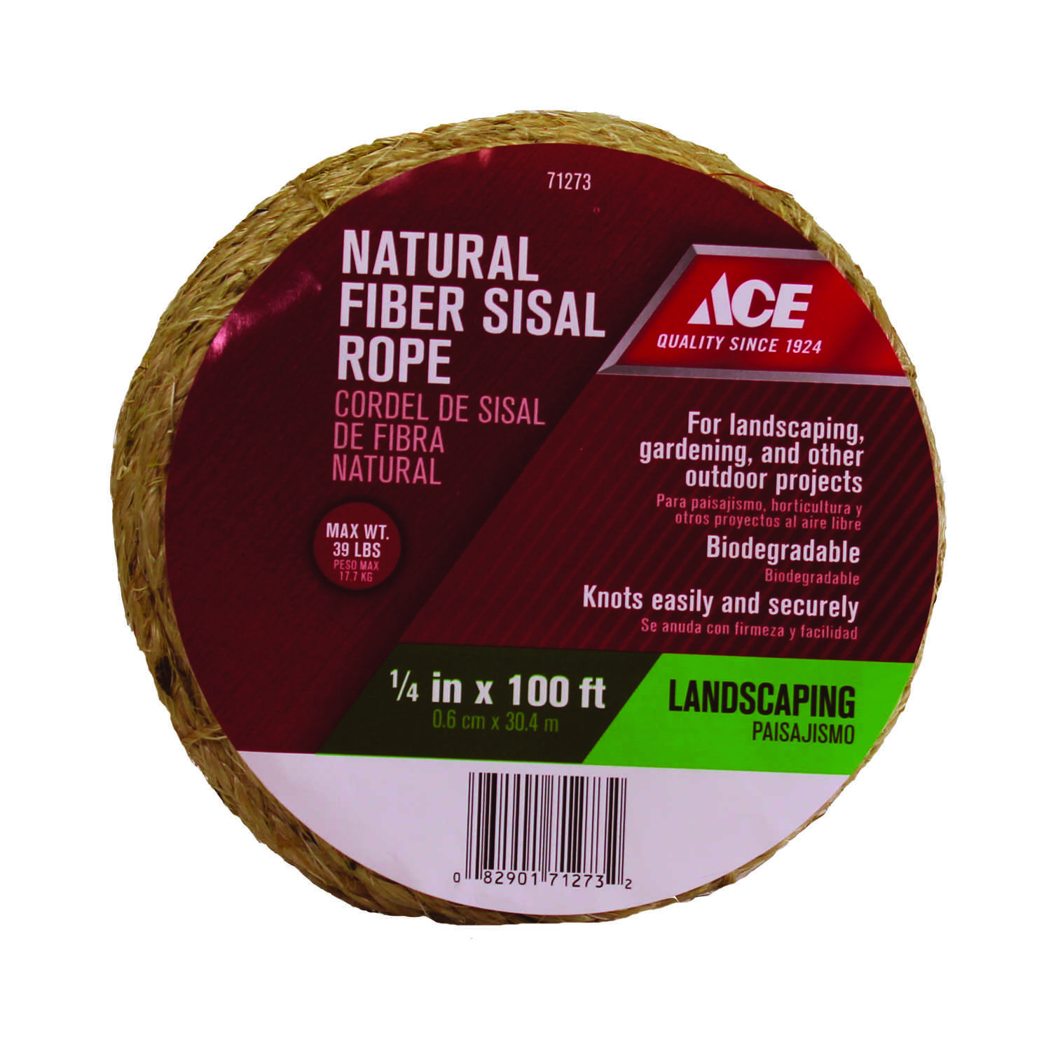 Ace 1/4 in  Dia  x 100 ft  L Brown Twisted Sisal Rope - Ace Hardware