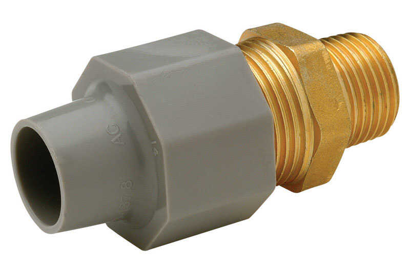Zurn  Qest  1/4 in. CTS   x 1/2 in. Dia. MPT  Pex Coupling Adapter  Brass/Polyethylene