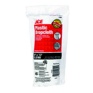 ACE  Medium Weight  Plastic  Drop Cloth  12 ft. L x 9 ft. W