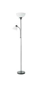 Living Accents  72 in. Satin  Black  Torchiere Floor Lamp