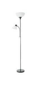 Living Accents  72 in. Satin  Torchiere Floor Lamp  Black