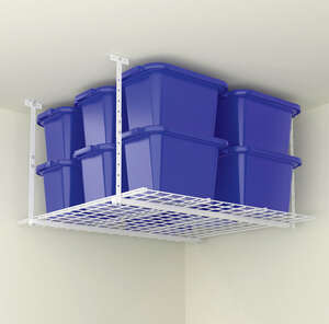 Hyloft  28 in. H x 45 in. D x 45 in. W Steel  Ceiling Storage Rack  White