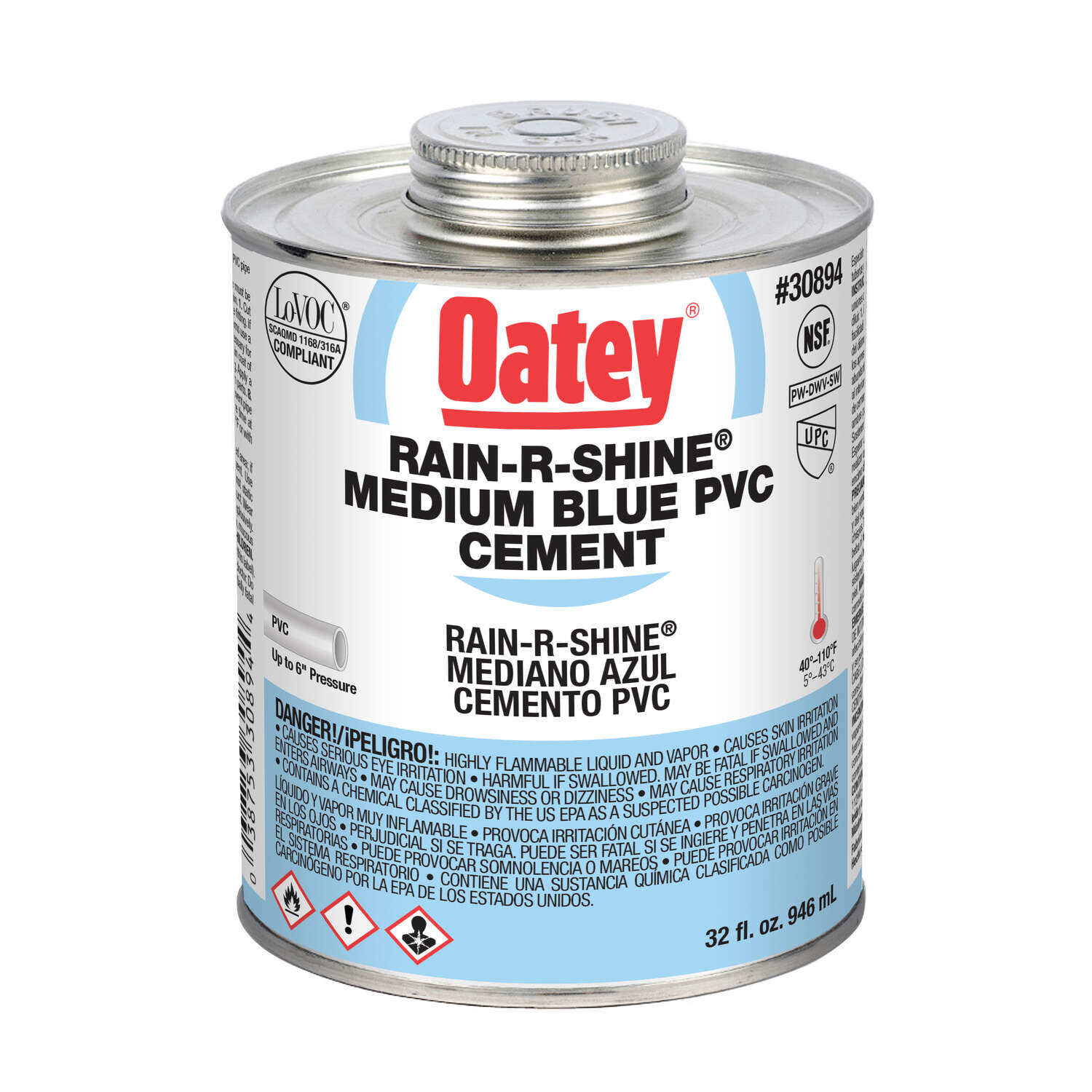 Oatey  Rain-R-Shine  Blue  Cement  16 oz. For PVC