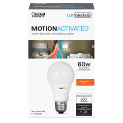 Feit Electric  Intellibulb  A19  E26 (Medium)  LED Motion Activated Bulb  Soft White  60 Watt Equiva
