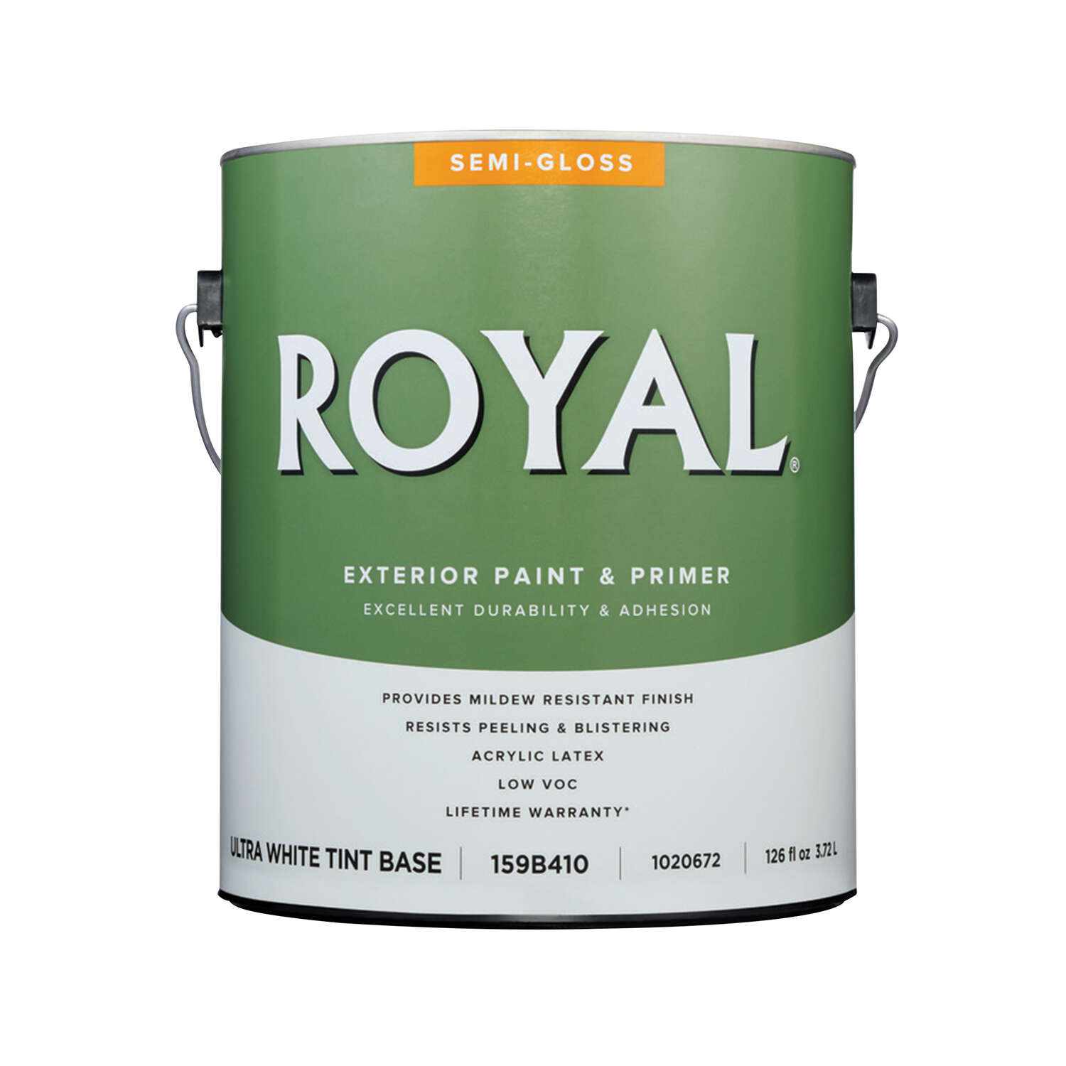 Royal  Semi-Gloss  Tint Base  Ultra White Base  Paint  Exterior  1 gal.