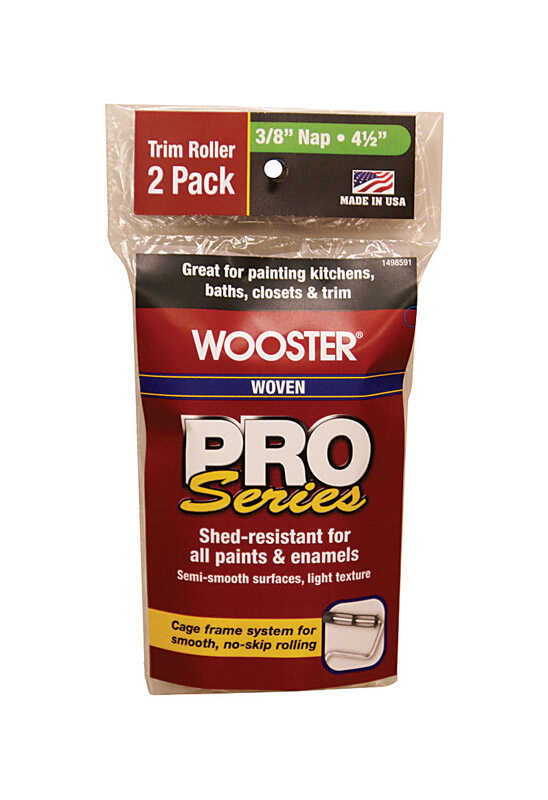 Wooster  Pro Series  Woven  3/8 in.  x 4-1/2 in. W Trim  Paint Roller Cover  For Semi-Smooth Surface