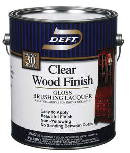 Deft  Clear Wood Finish  Gloss  Oil-Based  Lacquer  Clear  Brushing Lacquer  1 gal.