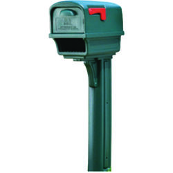 Gibraltar Mailboxes  Gentry  Plastic  Post and Box Combo  Green  Mailbox  50 in. H x 11-1/2 in. W x