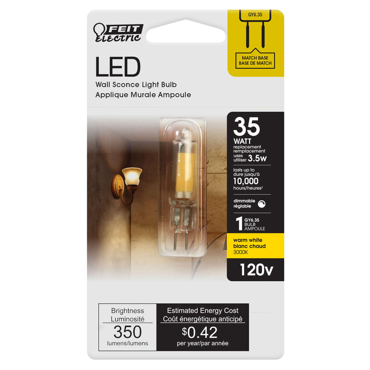 Feit Electric  T4  GY6.35  LED Bulb  Warm White  35 Watt Equivalence 1 pk