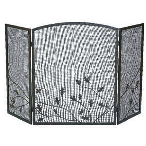 Panacea  Colonial Brown  Brushed  Steel  Fireplace Screen