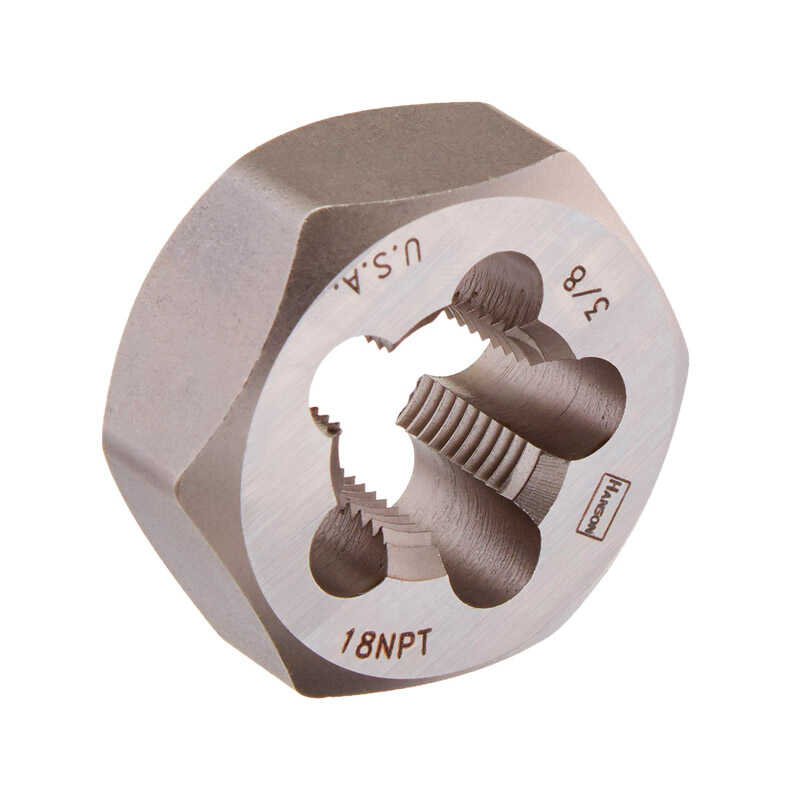 Irwin  Hanson  Carbon Steel  SAE  Hexagon Die  3/8-18NPT  1 pc.