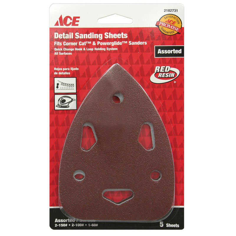 Ace  5-1/2 in. L x 4 in. W Assorted Grit Assorted  Aluminum Oxide  Mouse Sandpaper  5 pk