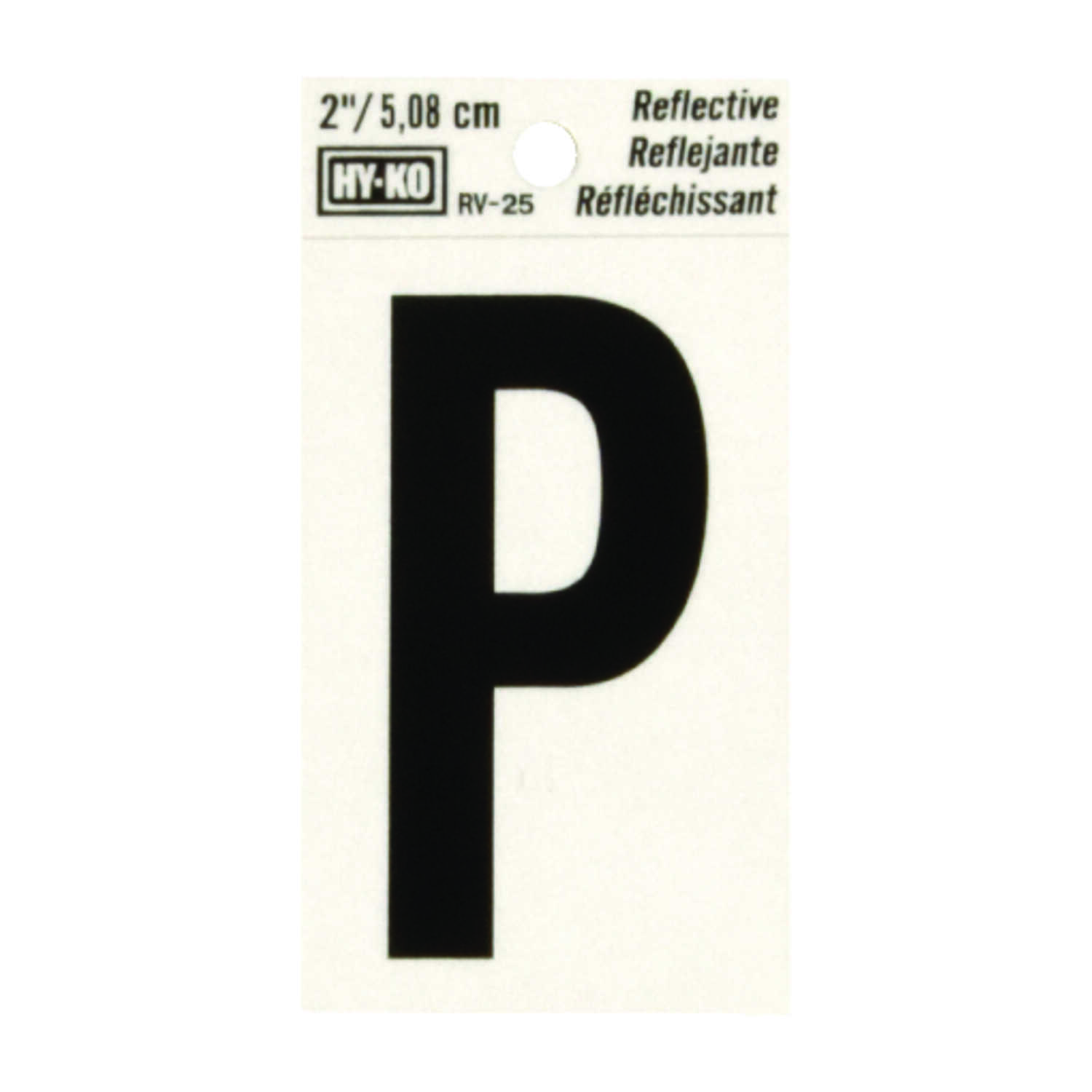Hy-Ko  2 in. Vinyl  Black  Letter  Self-Adhesive  Reflective P