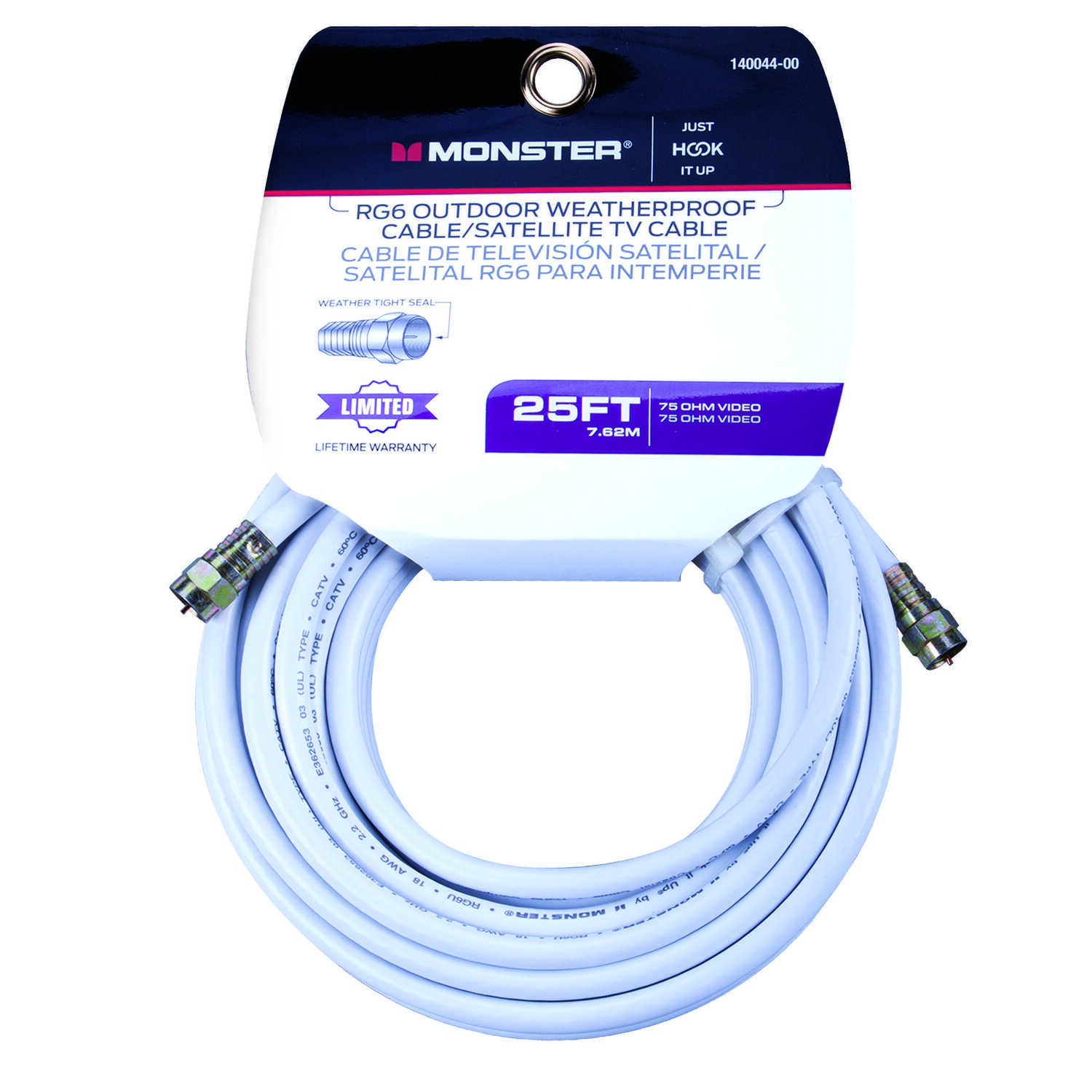 Monster Cable  Just Hook It Up  25 ft. Video Coaxial Cable