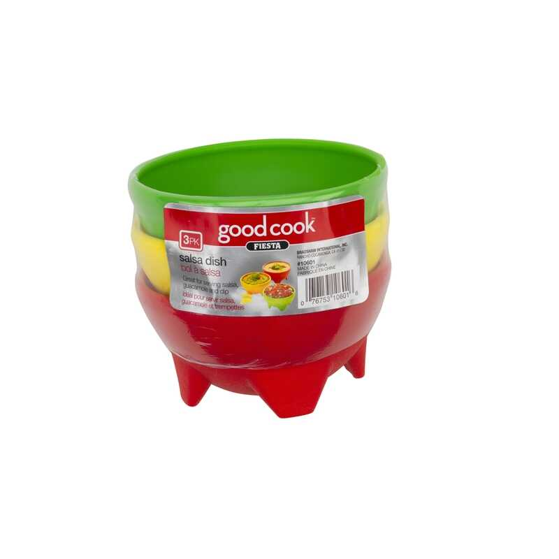 Good Cook  10 oz. Assorted  Plastic  Salsa  Dip Bowls  3 pk