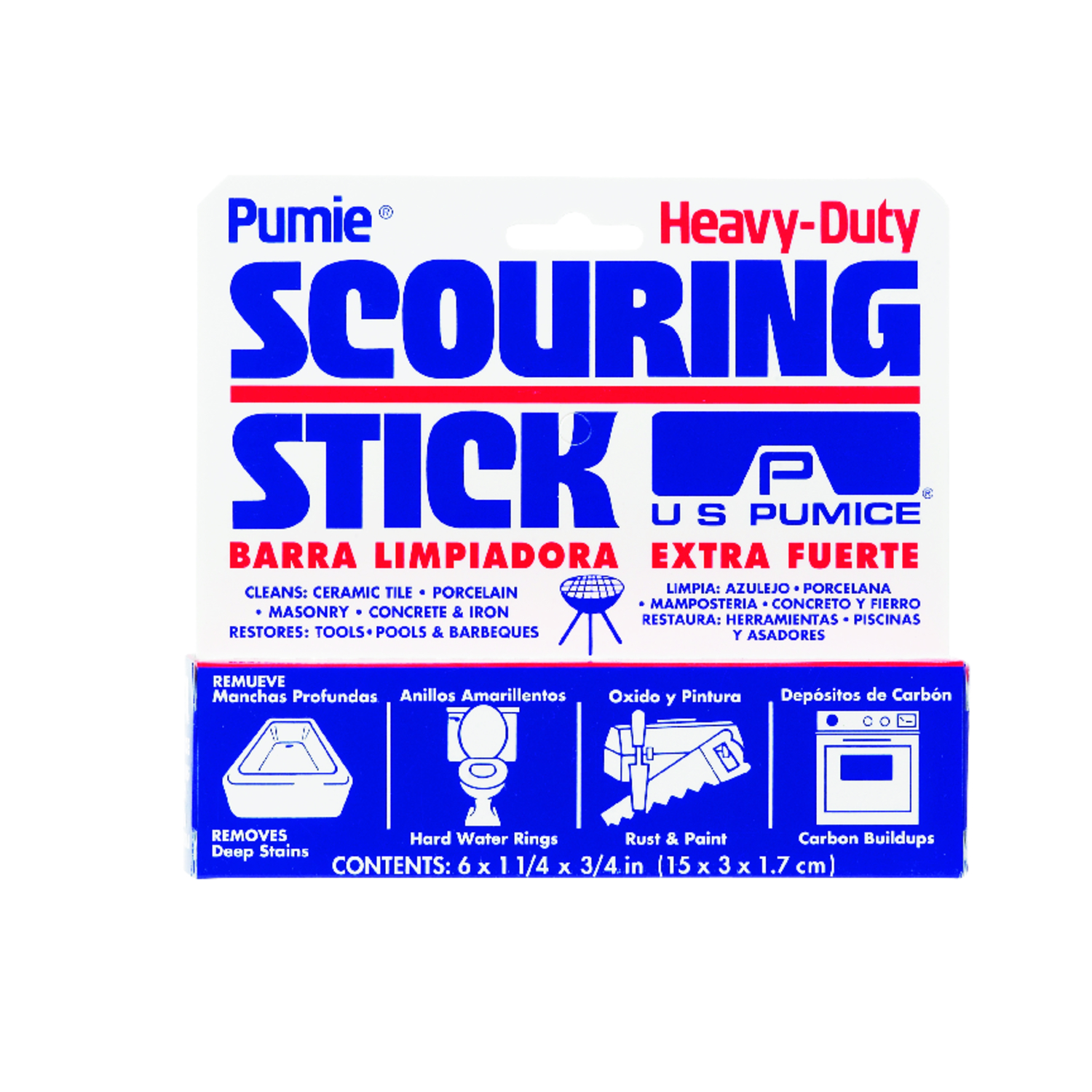 US Pumice  Delicate, Light Duty  Scouring Stick  6 in. L 1 each